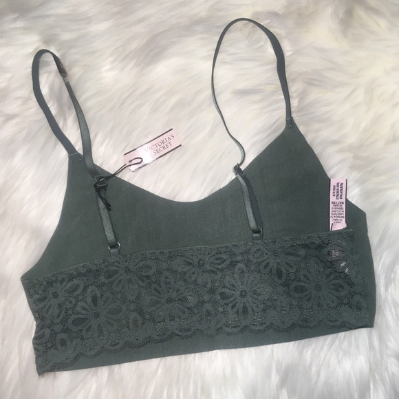 f553cbcab730f NWT Small VS forest green bralette lace back sexy